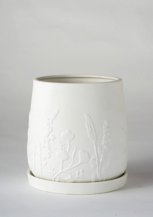 Relief Plant Pot White