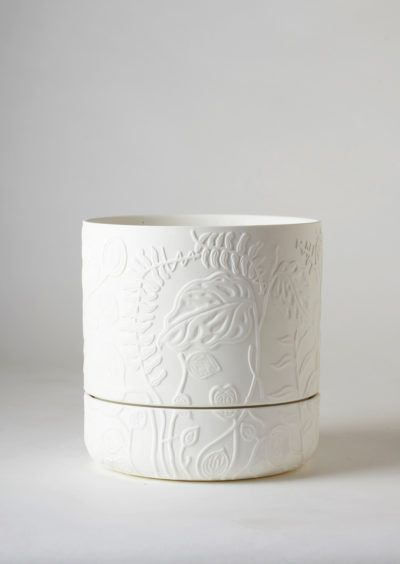 Angus & Celeste Folia Relief Plant Pot White