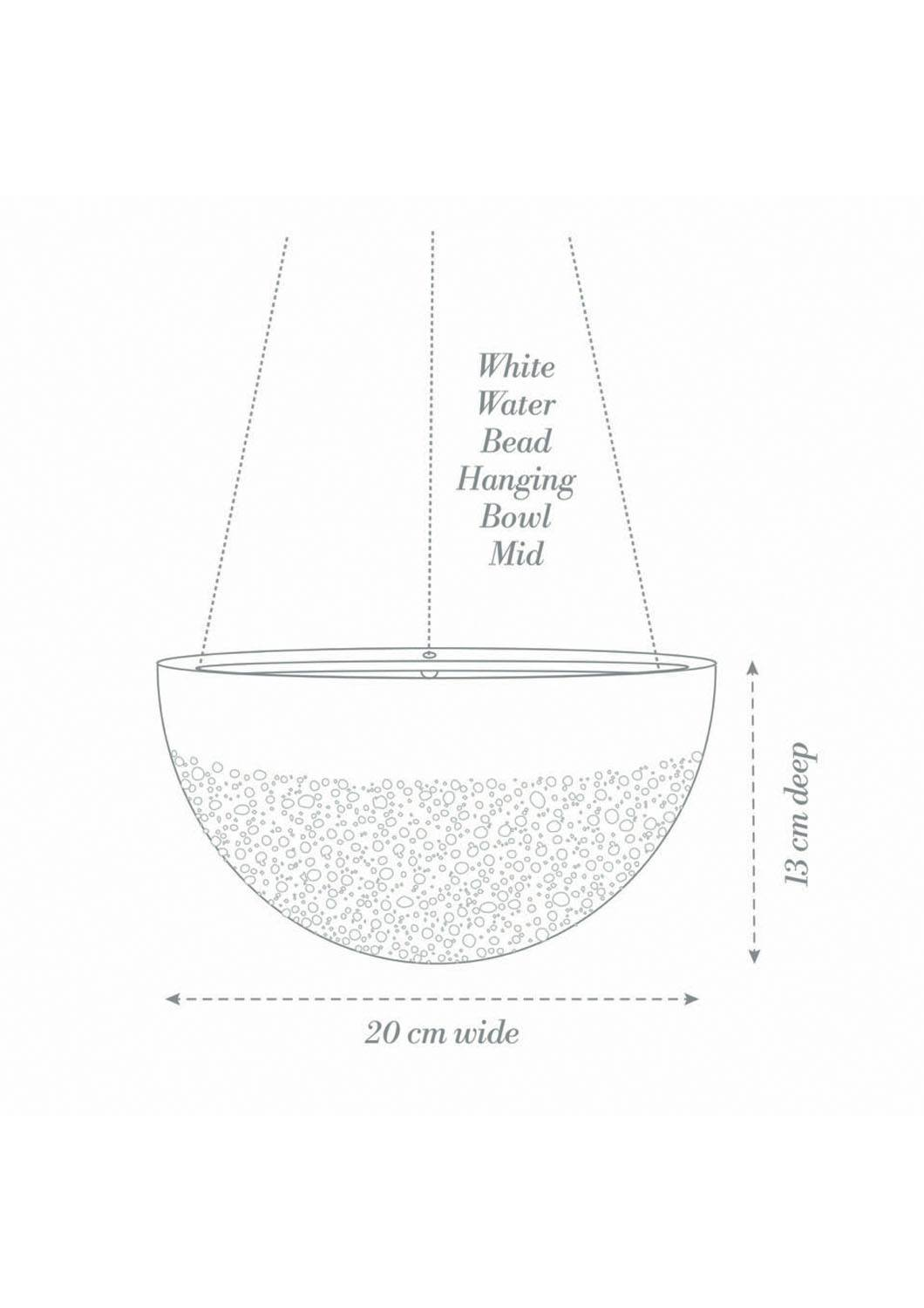 Angus & Celeste White Water Bead Hanging Planter Mid Product Diagram